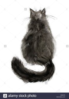 Stock photo - watercolor painting of black fluffy cat. back view. Watercolor Art Landscape, Watercolor Art Diy, Watercolor Art Paintings, Watercolor Painting Techniques, Watercolors, Fluffy Black Cat, Fluffy Cat, Black Cat Painting, Black Cat Tattoos