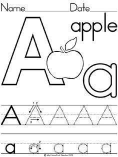 alphabet letter a apple standard block manuscript handwriting practice worksheet preschool printable - Pre K Worksheet Printables
