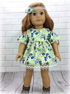 18 inch doll clothes AG doll clothes Blue floral dress made to