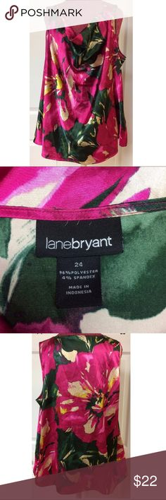 Lane Bryant Pink Floral Silky Blouse Tank Plus 24 For sale we have a womens Lane Bryant pink silky floral sleeveless top size 24. It has no stains or tears. Please view all pictures.  Approximate measurements: Chest: 54 inches around Length shoulder to hem: 27 inches Lane Bryant Tops Blouses