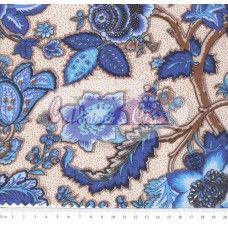 Tecido Tricoline Estampado Floral Mariane cor - 02 (Fundo Cru com Azul)