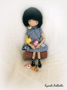 Collectible Art Doll - 28cm Soft Dolls, Crochet Hats, Handmade, Collection, Art, Knitting Hats, Art Background, Hand Made, Kunst
