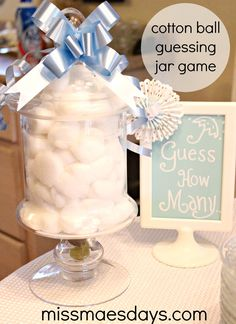 Cotton Ball Guessing Jar Game!  Baby Shower Waffle Bar + Recipes!