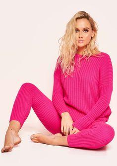 4f3cde2a34 Missyempire - Anya Neon Pink Knit Jumper Loungewear Set Loungewear Set