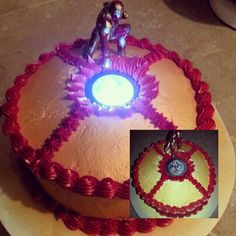 Iron Man cake. It actually lights up!