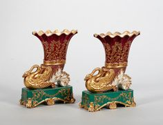 A pair of century Jacob Petit cornucopia spills, Vases Decor, Art Decor, Decoration, Old Paris, Antique Items, Furniture Decor, Home Furnishings, 19th Century, Tea Pots