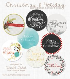Free Printable Christmas and Holiday Assorted Round and Oval labels by @cauger   #labels #printables #christmas