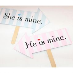 She is mine/He is mine フォトプロップス - フォトプロップス・ケーキトッパー・結婚式小物販売   EYMwedding