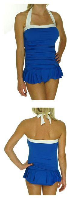 $63.38 - Lauren Ralph Lauren Women's Halter Ruched Skirted Swimsuit Marina #ralphlauren