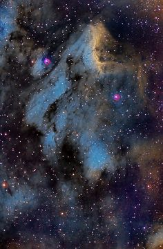 The Pelican Nebula (also known as IC 5070 and IC 5067 is an H II region associated with the North America Nebula in the constellation Cygnus. The gaseous contortions of this emission nebula bear a resemblance to a pelican, giving rise to its name.The Pelican Nebula is located nearby first magnitude star Deneb, and is divided from its more prominent neighbour, the North America Nebula, by a molecular cloud filled with dark dust.