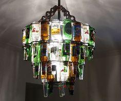 Beer bottle chandelier. Man Cave Idea