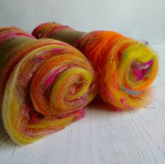 Carded Art Batt  Art Yarn  Indian Summer  Fibers for