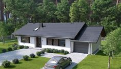 DOM.PL™ - Projekt domu HP SMART C CE - DOM HP1-93 - gotowy koszt budowy Rustic House Plans, Modern House Plans, Small House Plans, Entry Way Design, Yard Design, Bungalow Conversion, One Level Homes, Modern Bungalow House, Beautiful House Plans
