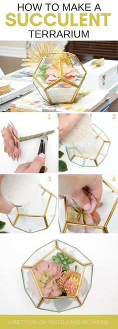 Make a DIY mini geometric faux succulent terrarium by layering sand and using assorted succulent plants. Learn how to make this fabulous gold and glass terrarium in five minutes!