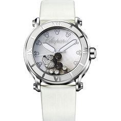 Chopard Happy Sport Diamond Mickey Mouse Mother Of Pearl Dial White... ($9,427) ❤ liked on Polyvore featuring jewelry, watches, analog watches, white watches, dial watches, white crown and white dial watches