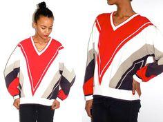 Vtg Chevron Red White Navy Retro Knitted Grandpa by LuluTresors, $29.99