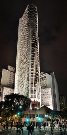 Edificio Italia (Italia Building), one of the heighest skyscrapers in Sao Paulo, Brazil in an exclusive night view with special illumination, due to en event in the city - by Carlos Alkmin