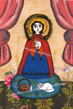 Religious Icon Collage St. Gertrude Paper Doll by MyArtPlace, $12.00 Patron Saint Of Cats, Religious Icons, Patron Saints, Cellophane Bags, Paper Dolls, Collages, Disney Characters, Fictional Characters, Mexico