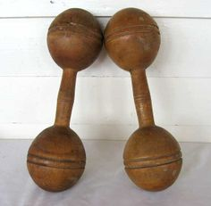 FITNESS: Pair of Antique 1900 Vintage Wooden Dumb Bells, 1 pound each  for the ladies