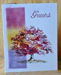 "FS290 Solitary Autumn Tree. Card created by ""Dockside"" after casing the featured stamper's card. On the link at SCS is an explanation about the process."