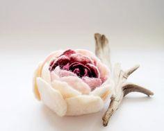 Cream Baby Pink and Burgundy Spring Ranunculus Felt Flower Pin Brooch