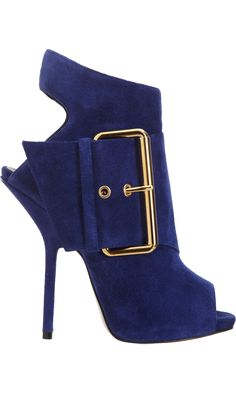 Giuseppe Zanotti Strapped Peep Toe Bootie with Big Buckle #Shoes #Heels