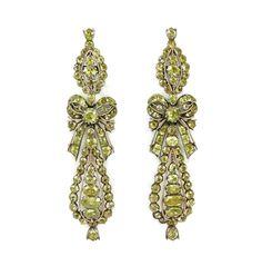 Pair of 18th century chrysolite cluster pendant earrings, Portuguese c.1790,