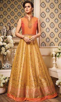 Party Wear Orange and Golden Frock Suit