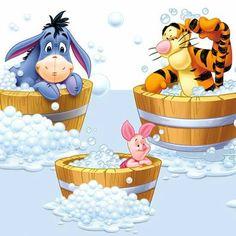 Rub a dub dub three cuties in a tub.