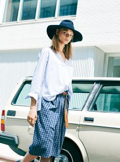 madewell constant shirt worn with the plaid mini skirt + biltmore® & madewell floppy felt fedora.