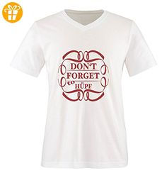 Comedy Shirts - DON'T FORGET to HÜPF - Herren V-Neck T-Shirt - Weiss / Rot Gr. XXL - Shirts mit spruch (*Partner-Link)