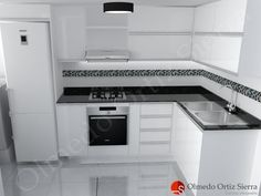 Diseño de Cocina Blanca en L Con Mesón Negro Kitchen Layout Plans, Kitchen Pantry Design, Kitchen Cabinet Styles, Diy Kitchen Storage, Home Decor Kitchen, Modern Kitchen Interiors, Modern Kitchen Design, Interior Design Kitchen, Kitchen Modular