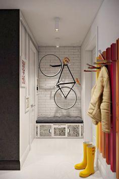 Bike Storage Room, Bike Storage Apartment, Bicycle Storage, Apartment Interior, Tiny Spaces, Small Apartments, Camas Murphy, Small Space Interior Design, Color Interior
