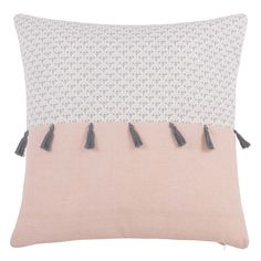 Kissenbezug mit Pompons aus Baumwolle 40x40 | Maisons du Monde