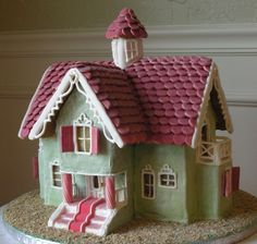 I made this gingerbread house from a pattern that came in the Goodhousekeeping Magazine many years ago when my kids were still toddlers. I never really finished the details but it still looks kinda cute.