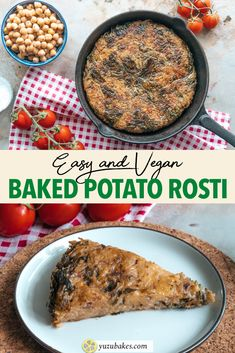 Baked Potato Rosti With Spinach - How to make vegan baked potato rosti, a healthier alternative to the Swiss traditional recipe #potatorosti #rosti #healthy #vegan Vegan Entree Recipes, Low Carb Dinner Recipes, Vegan Breakfast Recipes, Delicious Vegan Recipes, Vegan Snacks, Beef Recipes, Vegan Food, Drink Recipes, Wheat Free Recipes