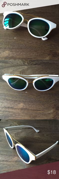 White Quay inspired sunglasses Blue green lenses and white frame. New without tags! Never worn! Perfect for summer  Quay Australia Accessories Sunglasses