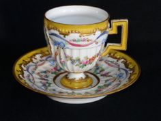 Gorgeous 18th Century Sevres France Porcelain Cabinet Cup Saucer Vintage Coffee Cups, Vintage Cups, Vintage China, Tea Cup Saucer, Tea Cups, Cafetiere, Tea Service, Coffee Set, Paintings