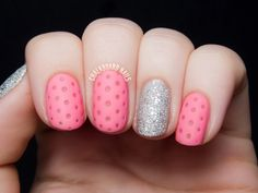 Pink matte perforated leather nail art is matched up with a sparkly silver Liquid Sand. Perfect for Valentine's Day or any day you want just a little bit of girly fun!
