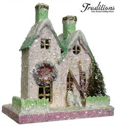 """Cody Foster Reproduction 36  PINK HOUSE W/WHITE POODLE  Paper Pulp 8x7"""""""