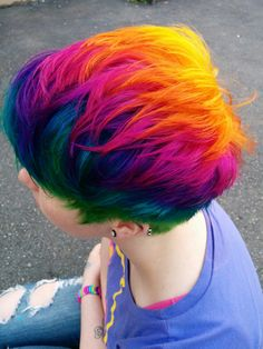 We've gathered our favorite ideas for Rainbow Hair Rainbows Red Blue Green Orange Yellow Purple, Explore our list of popular images of Rainbow Hair Rainbows Red Blue Green Orange Yellow Purple in short rainbow hair. Funky Hairstyles, Pretty Hairstyles, Hairstyle Men, Formal Hairstyles, Latest Hairstyles, Wedding Hairstyles, Short Rainbow Hair, Short Pastel Hair, Short Dyed Hair