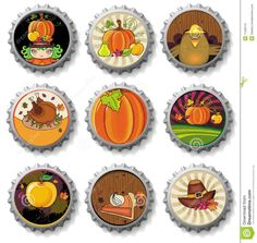 Thanksgiving Bottle Caps Stock Image - Image: 11206141