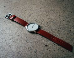 Minimal leather watch for men.