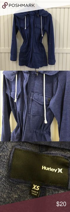 Women's Hurley Knit Jacket Sz XS Great condition! Versatile jacket for layering. Adjustable sleeves. Tie around waist inside of jacket with snaps up the front. Removable hood. Indigo color. Smoke free and pet free home. Hurley Jackets & Coats Utility Jackets