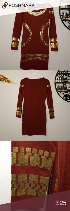 Burgundy Midi Body-Con Dress *Body-Con Dress *Long Sleeved *Knee-Length *Burgundy with Gold accents *Pairs great with gold jewelry and black heels for a night out *Can also be dressed down with a jean jacket and some boots *Used, in great condition  Please feel free to make offers! Or ask questions  xoxo Karlynn Dresses Midi