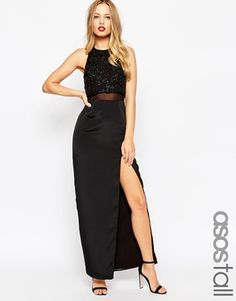 ASOS TALL Column Maxi Dress With Embellished Crop Top