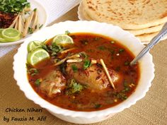 Nihari is a Pakistani/Indian/Bangladeshi dish, a fiery spicy stew consisting of slow cooked mutton/beef or chicken. The word Nihari originates from the Arabic word 'Nahaar' which means early morning. It is so named because Nihari was originally enjoyed in the early morning, right after fajr prayers.