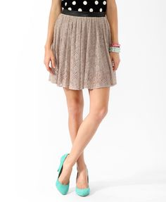 Faux Leather & Lace Skater Skirt     #UndergroundGlam #Forever21