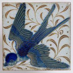 BLUE Tile   De Morgan, William Frend, born 1839 - died 1917
