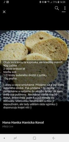 Knedlíky Dukan Diet, Fodmap, Low Carb Keto, Food Hacks, Food Inspiration, Good Food, Paleo, Food And Drink, Gluten Free